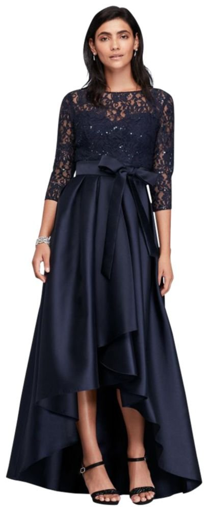 David's Bridal Lace Bodice High-Low Ball Mother of Bride/Groom Gown Style 3651DB, Navy, 16 by David's Bridal