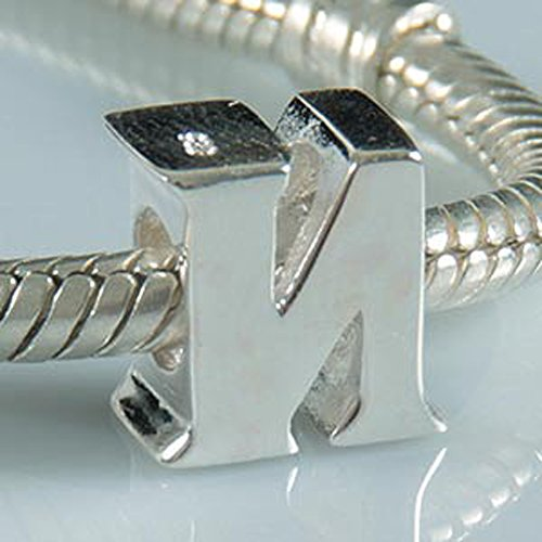 Letter N Charm Sterling Silver 925 Initial A-z Alphabet Beads Name Charm for Charms by Amoony Beads (Image #1)