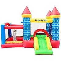 PLAY4FUN Château Gonflable pour Enfants 3m : Aire de Jeux Gonflable avec Toboggan et Double Parc intérieur sécurisé - souffleur et Sac de Rangement Inclus - Castle Bouncer Deluxe
