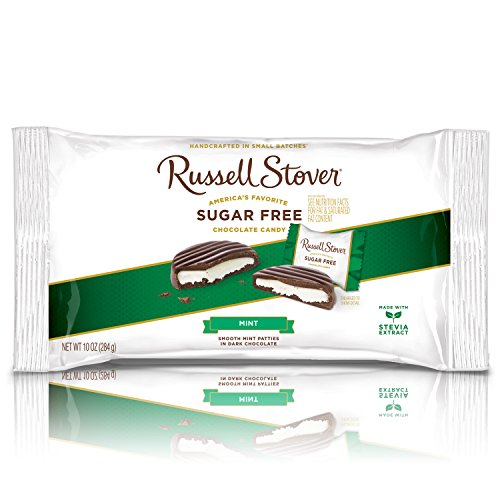 (Russell Stover Sugar-Free Mint Patties Laydown Bag 10 Ounce Russel Stover Sugar-Free Candy, Mint Chocolate Patty Candy Pack, Individually Wrapped Mint Chocolate Covered Candy, Sweetened with Stevia)