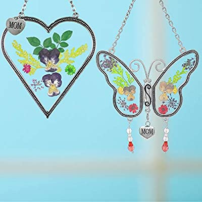 BANBERRY DESIGNS Mom Gifts - Mom Butterfly and Heart Sun Catcher Set - Stained Glass Suncatchers with Pressed Flowers - Engraved Silver Mom Charms : Garden & Outdoor