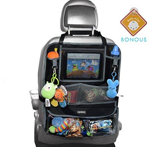 Alphabetz Deluxe Organizador de asiento trasero y protector con señal de coche para bebé, color negro