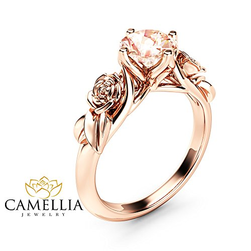 Rose and Leaf Morganite Engagement Ring 14K Rose Gold Solitaire Ring