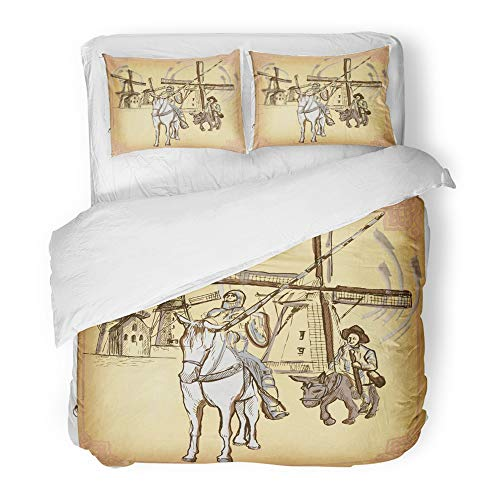 Emvency 3 Piece Duvet Cover Set Brushed Microfiber Fabric Colored Line Don Quijote Quixote Freehand Sketch of Knight in Front Windmills Breathable Bedding Set with 2 Pillow Covers Full/Queen Size