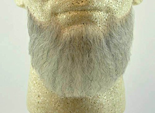 Full Chin Beard LIGHT GREY w/ Spirit Gum - 100% Human Hair - no. 2023 - REALISTIC! Perfect for Theater and Stage - Reusable! -