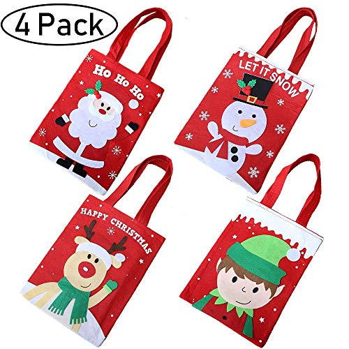 (4 Pack Christmas Tote Gift Bags,Reusable Christmas Candy Bag Santa Claus Elf Snowmen Reindeer Embroidered Bag with Handle Portable Candy Gift Baskets Gift Wrap for Christmas Party Favors)