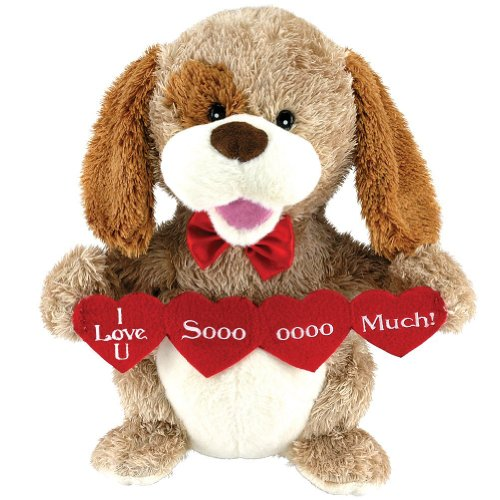 Animated Puppy Love Plush Dog Stuffed Animal Sings Sugar Pie Valentine (Valentines Bingo)