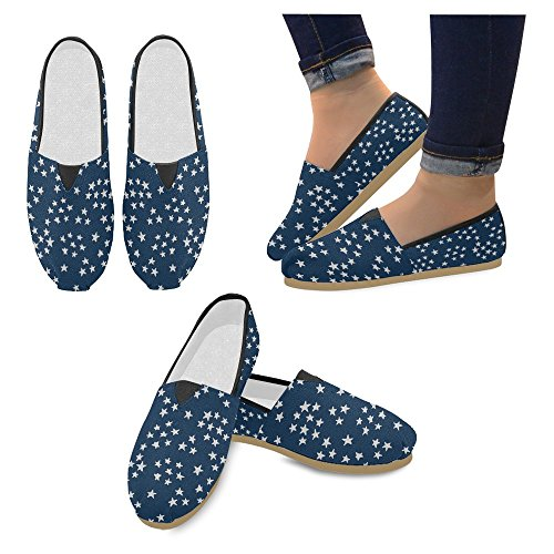 Interestprint Womens Loafers Klassiska Avslappnade Kanfassnedsteget På Mode Skor Gymnastik Lägenheter Små Stjärnor Blue Star
