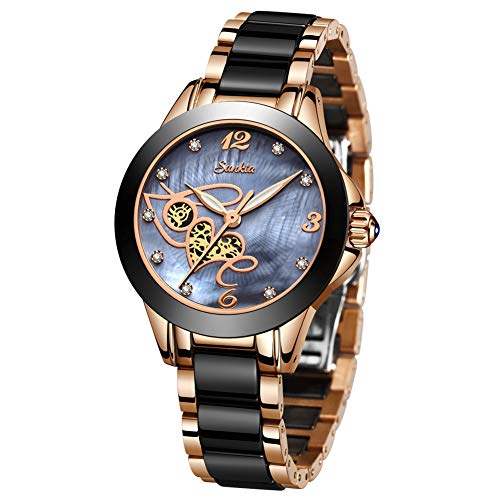 Womens Watches Waterproof Analogue Quartz Luxury Rose Gold Ceramics SUNKTA Wrist Watch Ladies Girls Fashion Elegant Casual Dress Watch Slim Simple Business Blue Clock