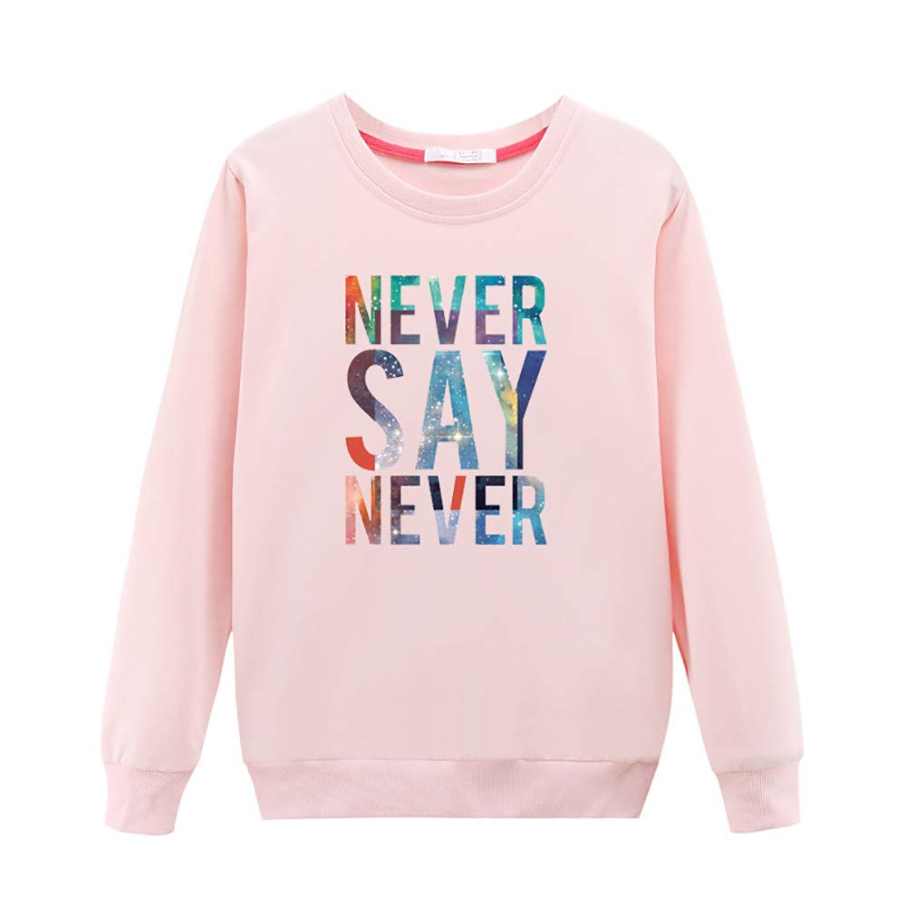 BETTERUU Women Pullover Casual Long-Sleeved Japan Korean T Shirt Printed with Round Collar Blouse Pink c,L