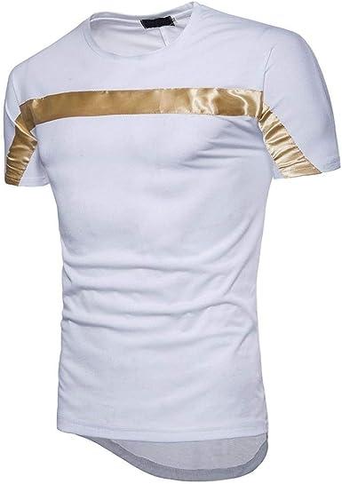 Camisa De Hombre Brillante con Tirantes Horizontales para Hombres Camisa Ropa De Manga Corta con Cuello Redondo Ajustada Camiseta Básica Blusas Tops Mujeres: Amazon.es: Ropa y accesorios