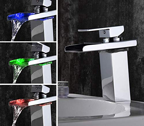 B Waterfall Single Handle Bathroom Sink Faucet, With 3-color Changing Led Light, Single Hole Cold And Hot Water - Suitable For Bathroom,Brass Body