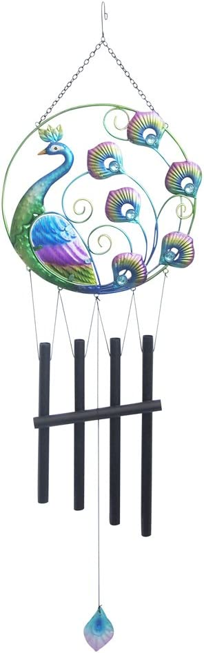 "Comfy Hour 36"" Colorful Metal Art Peacock Wind Chime"