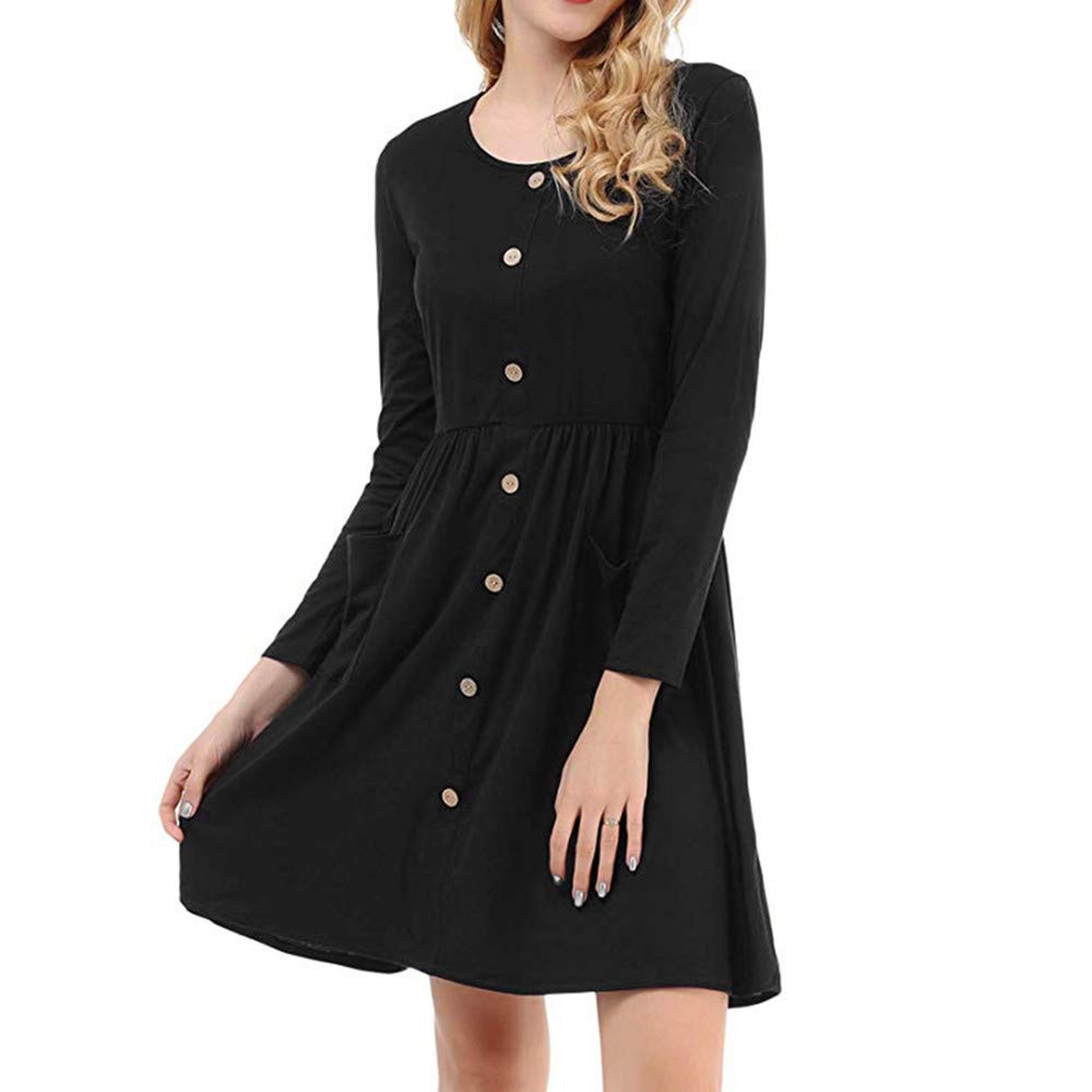 Women's Mini Dress TIFENNY Ladies Button Pockets Casual Long Sleevel Solid Color Dress for Paty