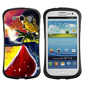 Hybrid Anti-Shock Bumper Case for Samsung Galaxy S3 / Man With Cape
