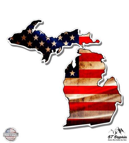 - Michigan State Shape American Flag - 3