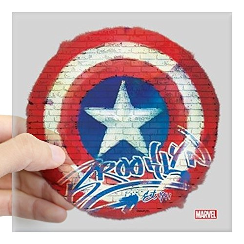 CafePress Captain America Graffiti Sh Square Sticker 3 X 3 Square Bumper Sticker Car Decal, 3