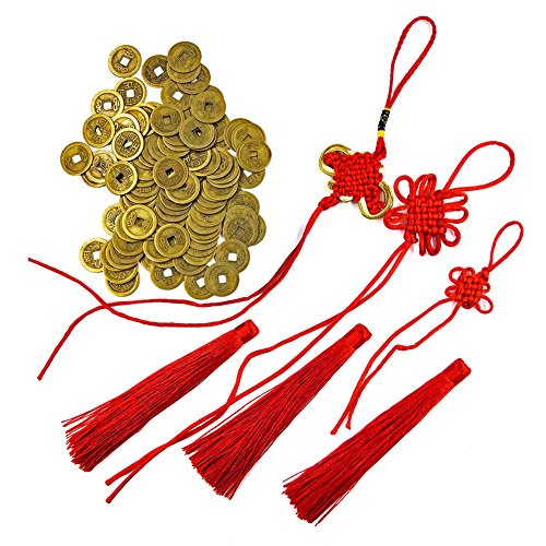 DMIDEA 106 Pieces Chinese Fortune Coins Feng Shui I-Ching Good Luck Ancient Dynasty Time Coin Health and Wealth with Chinese Knot Tassel (101) ()