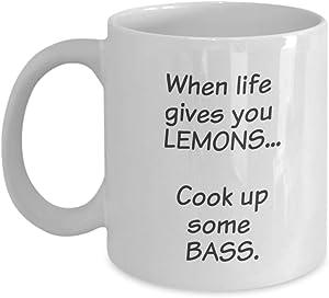 "Fun Novelty Coffee Mug -""When life gives you Lemons, cook up some Bass."" - ceramic, 11oz."