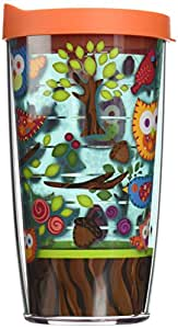 Tervis Owls Wrap Tumbler with Orange Lid, 16-Ounce
