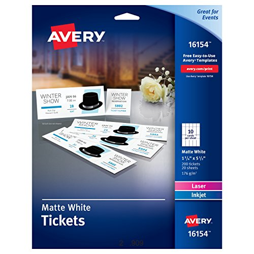 Envelope Label Template (Avery Blank Printable Tickets, Tear-Away Stubs, Perforated Raffle Tickets, Pack of 200 (16154))