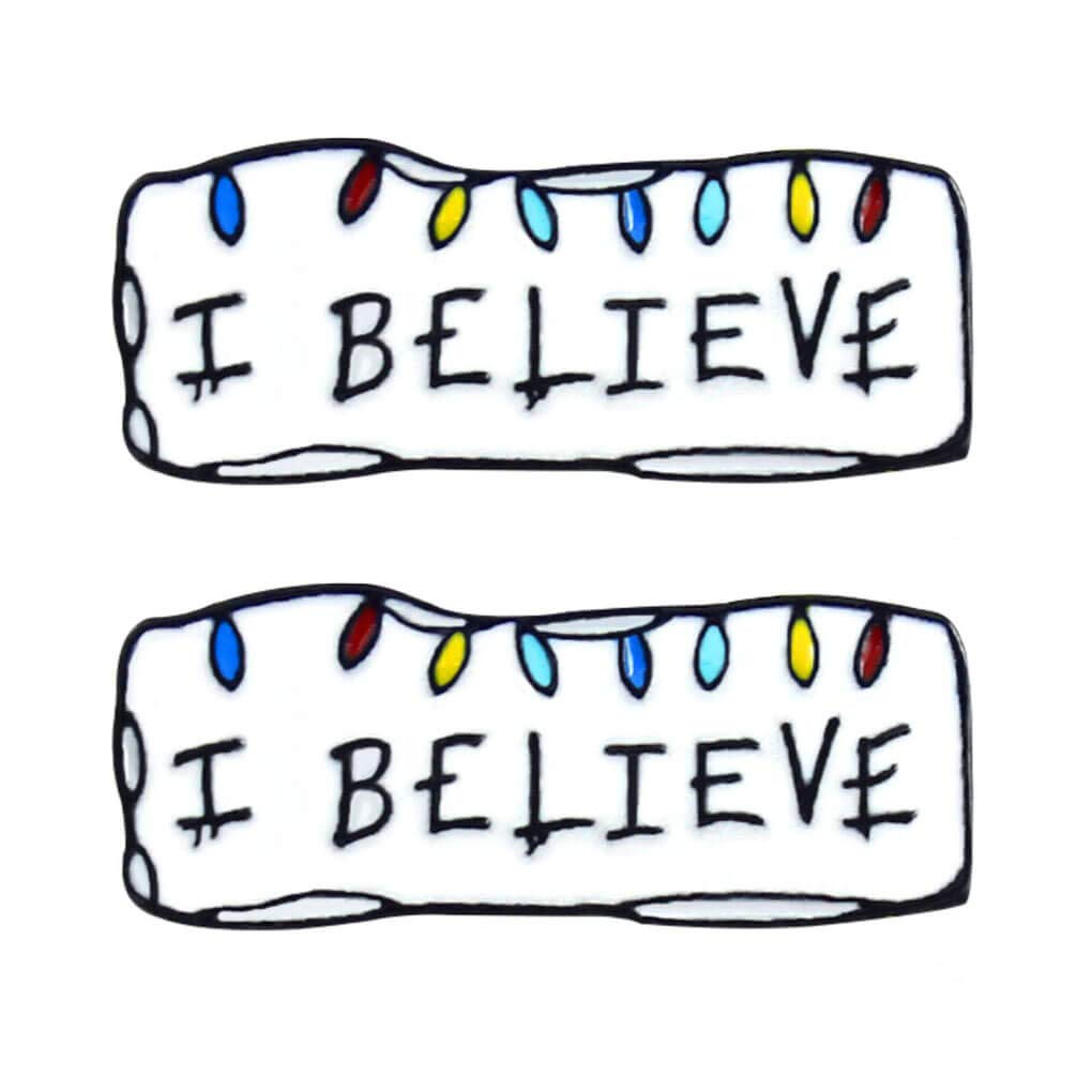Charmart I Believe Lapel Pin 2 Piece Set Inspirational Tag Enamel Brooch Pins Message Badge Gifts