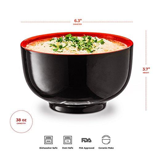 KooK Japanese Ceramic Noodle Bowl, Deep Interior, Black and Red, 38oz, Set of 4 by KooK (Image #4)