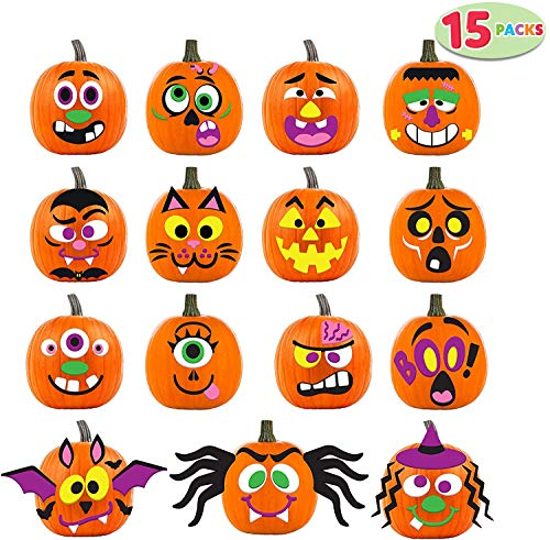 Pumpkin Decorating Kit (JOYIN 15 Packs Pumpkin Decorating Foam Stickers in 15 Designs Halloween Party Supplies Trick or Treat Party)