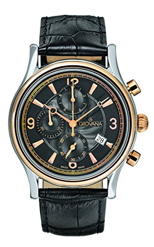 Grovana Men's 1728-9557 Traditional Analog Display Swiss Quartz Black Watch