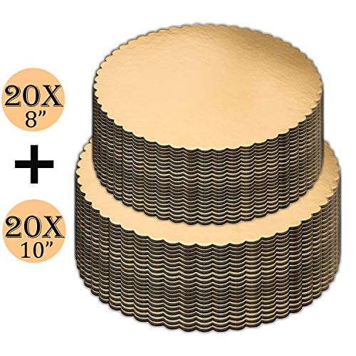 (Cake Boards set of 40, Gold, Cake Boards 8 inch, and Cake Boards 10 Inch, 20 of each, Laminated, Scalloped Edges, Cake Board, Cake Base, Cardboard Cake Rounds, Cake Circles.)