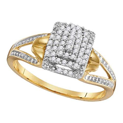 Roy Rose Jewelry 10K Yellow Gold Womens Round Diamond Cluster Split-shank Ring 1/5-Carat tw -
