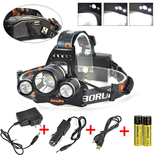 Boruit 3x XM-L2 T6 LED Beads 5000 Lumens Headlamp 4 Modes wi