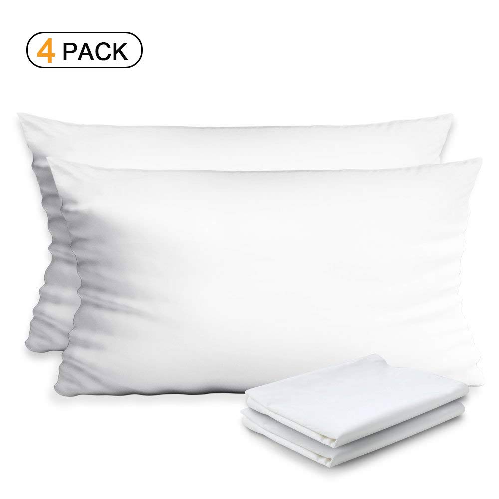 Haperlare 4-Pack 100% Egyptian Cotton Pillow Protectors Premium Pillowcases,Hypoallergenic Dust Mite & Bed Bug Resistant Anti-Microbial 400 Thread Count Zippered Pillow Covers 20 x 26 inch