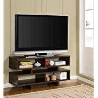Kings Brand Espresso Finish Wood TV Stand Entertainment Center with Cube Bookcase Display Cabinet