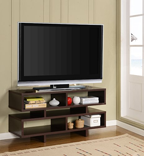 Dark Finish Espresso Wood (Kings Brand Espresso Finish Wood TV Stand Entertainment Center with Cube Bookcase Display Cabinet)