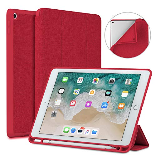 New iPad 9.7 2018/2017 Case with Pencil Holder, Soke Lightweight iPad Case Trifold Stand with Shockproof Soft TPU Back Cover and Auto Sleep/Wake Function for iPad 9.7 inch 5th/6th Generation, - Ipad Apple Red Case