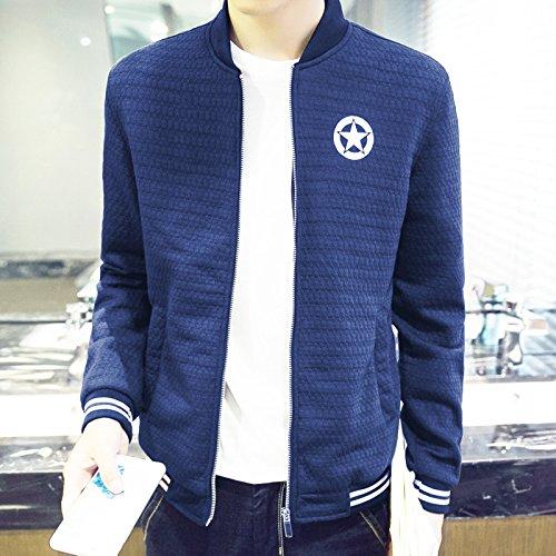 Hombres chaqueta casual hombres distan mucho de estilo casual para hombres tejida de Sau, azul oscuro ,XXXL