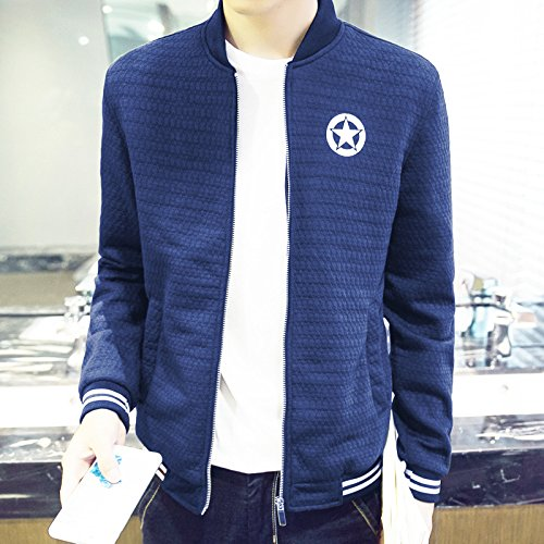 Hombres chaqueta casual hombres distan mucho de estilo casual para hombres tejida de Sau, azul oscuro ,XXXXL