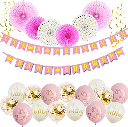 It's A Princess Baby Shower Decorations for Girl - 55 Piece Girl's Baby Shower Decorations Pink/White/Gold/Rose Gold. Premium Quality, 100% Unique, 2018. ()