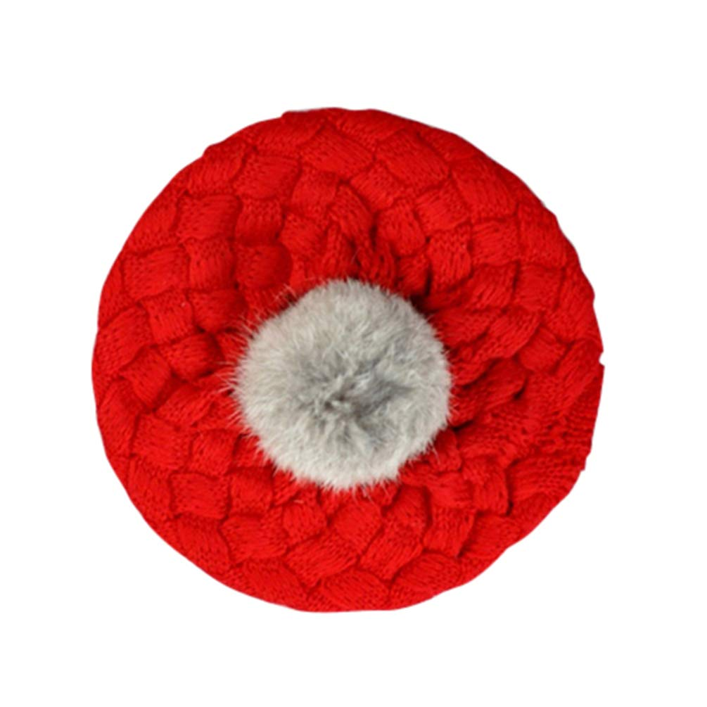 Bébé Garçon Fille Béret Hiver chaud en tricot crochet Chapeau pour tout-petits enfants Bonnet Casquette pour 1–6ans rouge Red taille unique bismarckbeer_