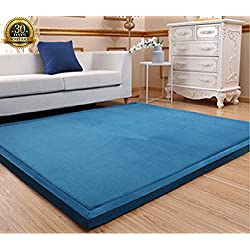Memory Foam Coral Velvet Non Slip Living Room Carpet, HIGOGOGO 3CM Thick Children Crawling Mat, Pure Color 31 by 78 inch Children Play Mat Soft Bedroom Mat Area Rug