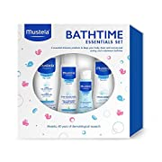 Mustela Bathtime Essentials Gift Set, Gentle, Safe and Hypoallergenic Products for Baby Bath Time and Skin Care, 4 Items