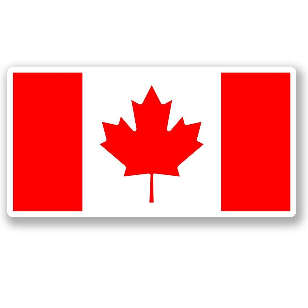 2 x 30cm- 300mm Canada Flag Vinyl SELF ADHESIVE STICKER Decal Laptop Travel Luggage Car iPad Sign Fun #4576