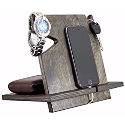 5th Anniversary Gift, Valentine\'s Day Gift For Him, Wooden iPhone Docking Station, Christmas Gift For Husband, Gifts For Men, Gifts For Boyfriend (Ebony-non personalized)
