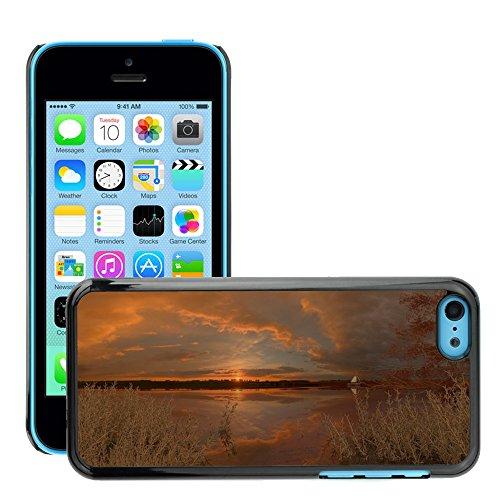 Stampato Modelli Hard plastica Custodie indietro Case Cover pelle protettiva Per // M00421705 Lac Coucher de soleil Nature Calme // Apple iPhone 5C