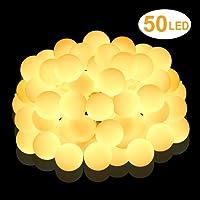 Nasharia 5m 50 Boule LED Guirlande lumineuse,Blanc Chaud Décoration Romantique pour Maison, Jardin, Festival,Mariage Anniversaire Soirée Party etc.(Alimenté par Batterie)
