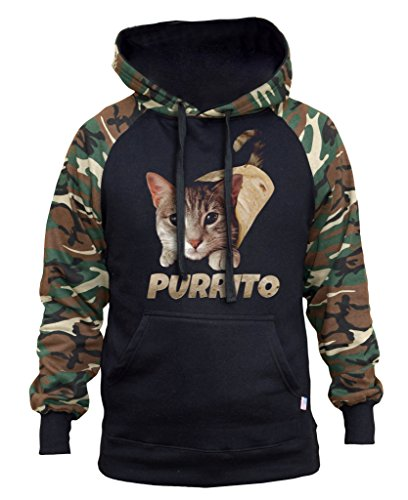 Interstate Apparel Men's Cat Purrito Burrito Black/Camo Raglan Baseball Hoodie Medium Black