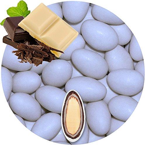 EinsSein 0,5kg Schokomandeln Double Schokolade hellblau matt Hochzeitsmandeln Mandeln Hochzeit Taufmandeln Gastgeschenke Zuckermandeln Bonboniere Confetti Badem sekeri Gastgeschenk Zucker Candy Bar