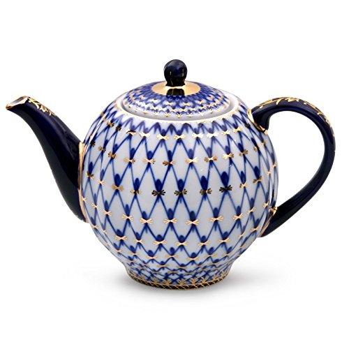 (Imperial / Lomonosov Porcelain Teapot 'Tulip Cobalt Net')