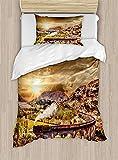 MAIANNE Wizard Duvet Cover, Wizard School Express Famous Train Landscape Glenfinnan Railway Viaduct Scotland Sunset, Decorative 4 Piece Bedding Set with 2 Pillowcases, Brown
